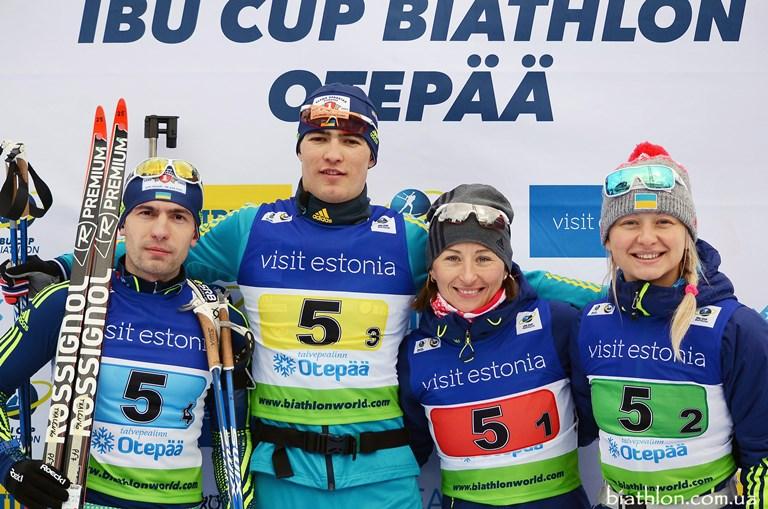 Украинские биатлонисты выиграли 3-е место наКубке мира всмешанной эстафете