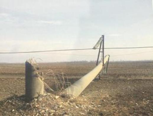 УХерсонській області пошкоджено кілька залізобетонних електроопор