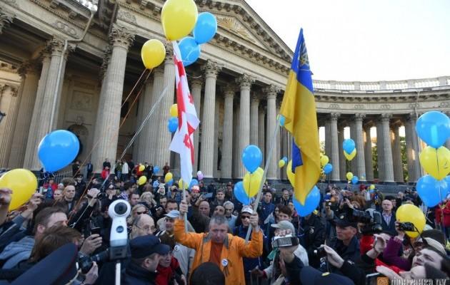 Всеверной столице протестуют против войныРФ сУкраинским государством