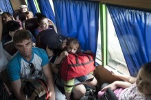 JUNE 9, 2014, SLOVIANSK. ACCORDING TO EXPERTS, MOST MIGRANTS FROM THE DONBAS, AMOUNTING TO 350,000-400,000 INDIVIDUALS, WANT TO GO HOME, WHILE ABOUT 150,000 HAVE ADJUSTED TO THEIR NEW HOMES AND ARE NOT GOING BACK