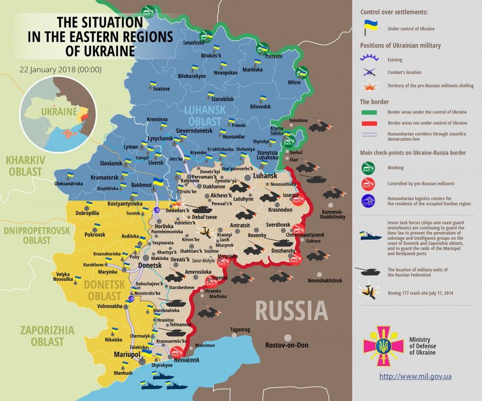 Штаб АТО: НаДонеччині внаслідок мінометного обстрілу бойовиків загинув український військовий