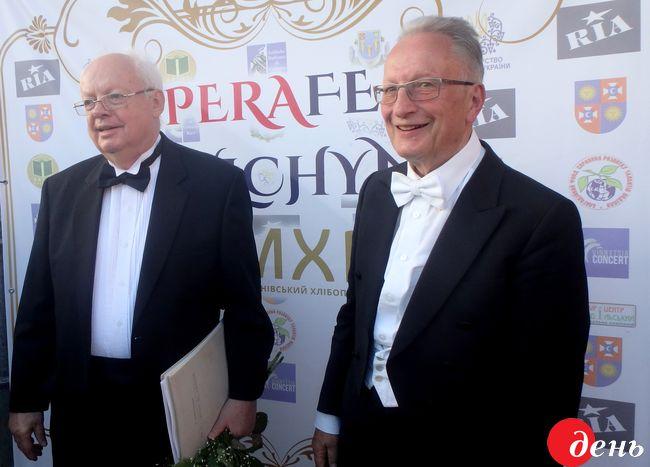 Український композитор Мирослав Скорик та маестро Петер Маркс з Німеччини;